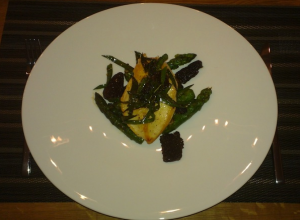 Roasted Chicken Breast with Morels, Ramps, and Asparagus